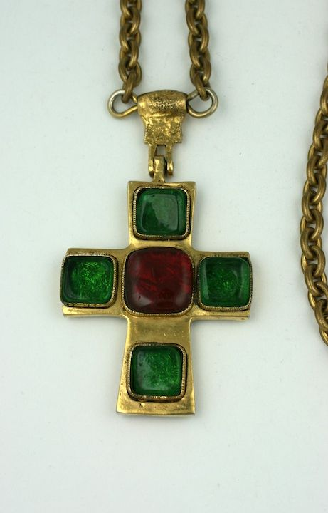 Poured Glass Iconic Cross Necklace, Chanel In Excellent Condition For Sale In Riverdale, NY