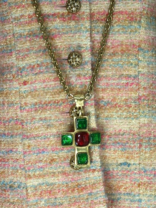 Poured Glass Iconic Cross Necklace, Chanel For Sale 1