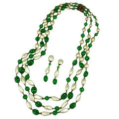 Massive Faux Pearl and Emerald Sautoir Necklace, Chanel