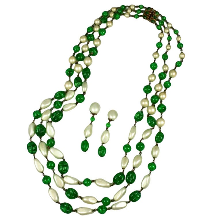 Massive Faux Pearl and Emerald Sautoir Necklace, Chanel 1