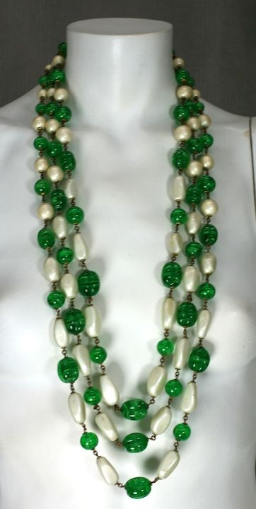 Massive Faux Pearl and Emerald Sautoir Necklace, Chanel For Sale 1