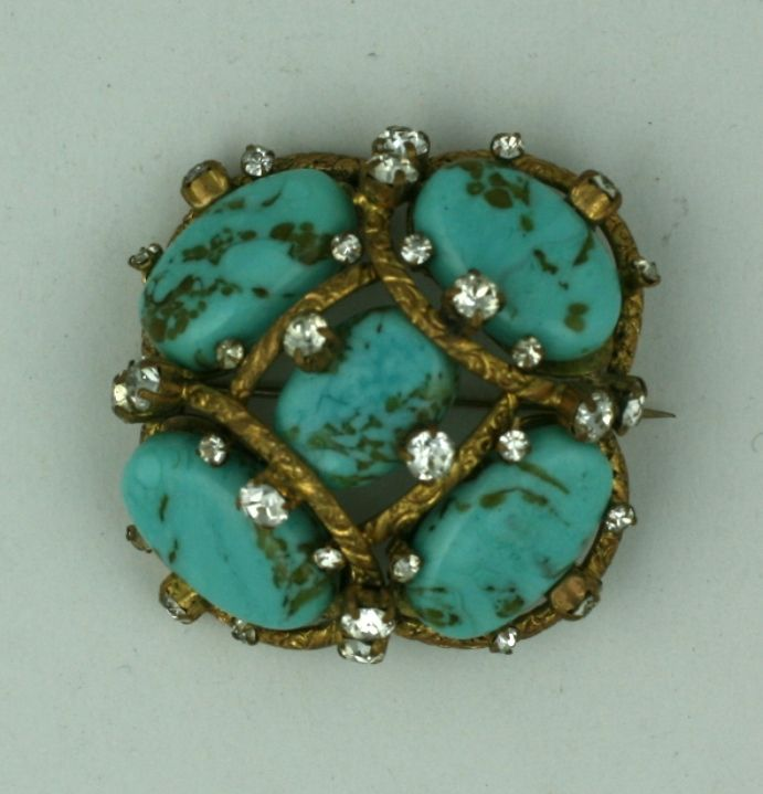 Iconic Chanel Turquoise Cluster Brooch In Excellent Condition For Sale In Riverdale, NY