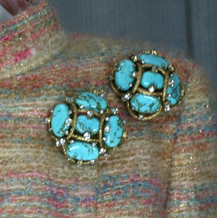 Iconic Chanel Turquoise Cluster Brooch For Sale 3