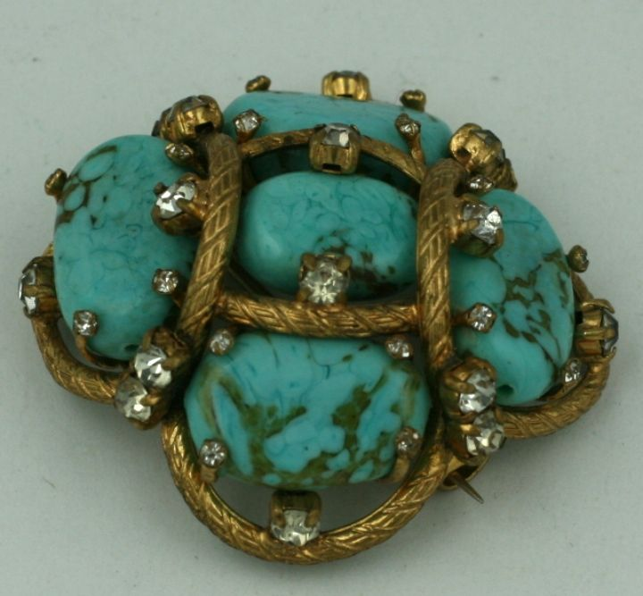 Women's Iconic Chanel Turquoise Cluster Brooch For Sale