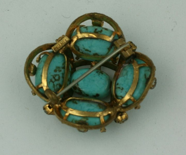 Iconic Chanel Turquoise Cluster Brooch For Sale 1