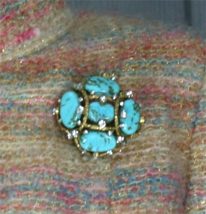 Iconic Chanel Turquoise Cluster Brooch For Sale 2