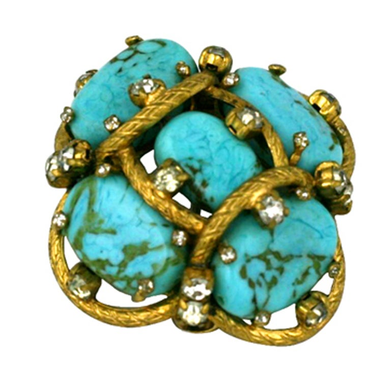 Iconic Chanel Turquoise Cluster Brooch For Sale