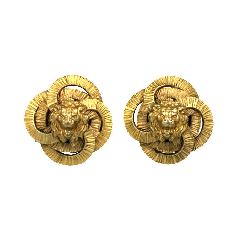 chanel classic lion earrings at 1stdibs
