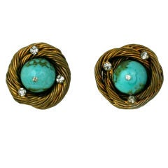Classic Chanel Turquoise  Birds Nest Earclips