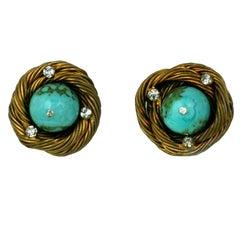 Classic Chanel Turquoise  Birds Nest Earclips