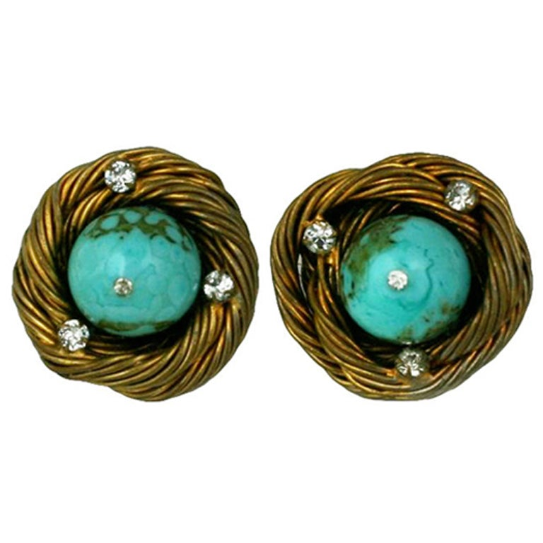 Classic Chanel Turquoise  Birds Nest Earclips For Sale