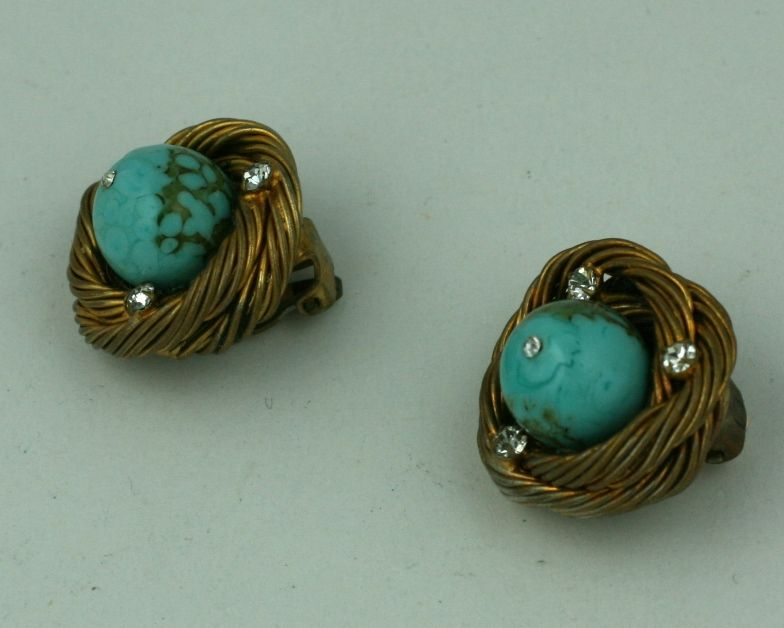 Classic Chanel Turquoise  Birds Nest Earclips In Excellent Condition For Sale In Riverdale, NY
