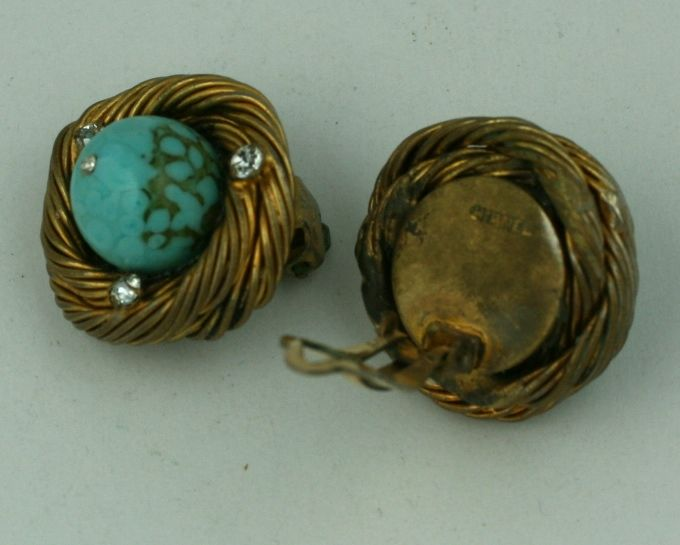 Women's Classic Chanel Turquoise  Birds Nest Earclips For Sale