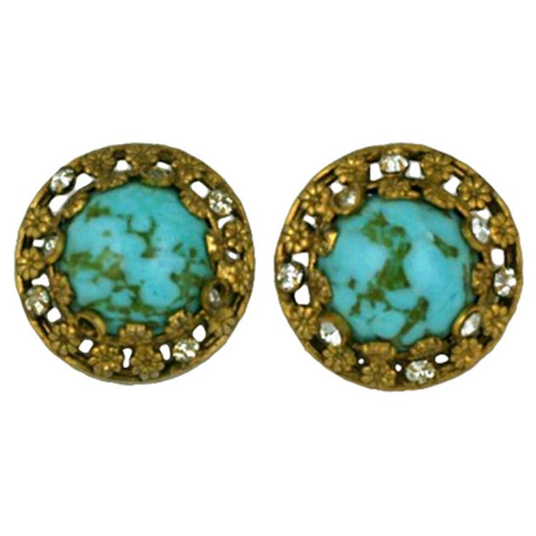 Chanel Turquoise and Floral Filigree Earclips For Sale