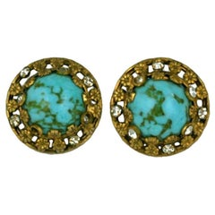 Chanel Turquoise and Floral Filigree Earclips