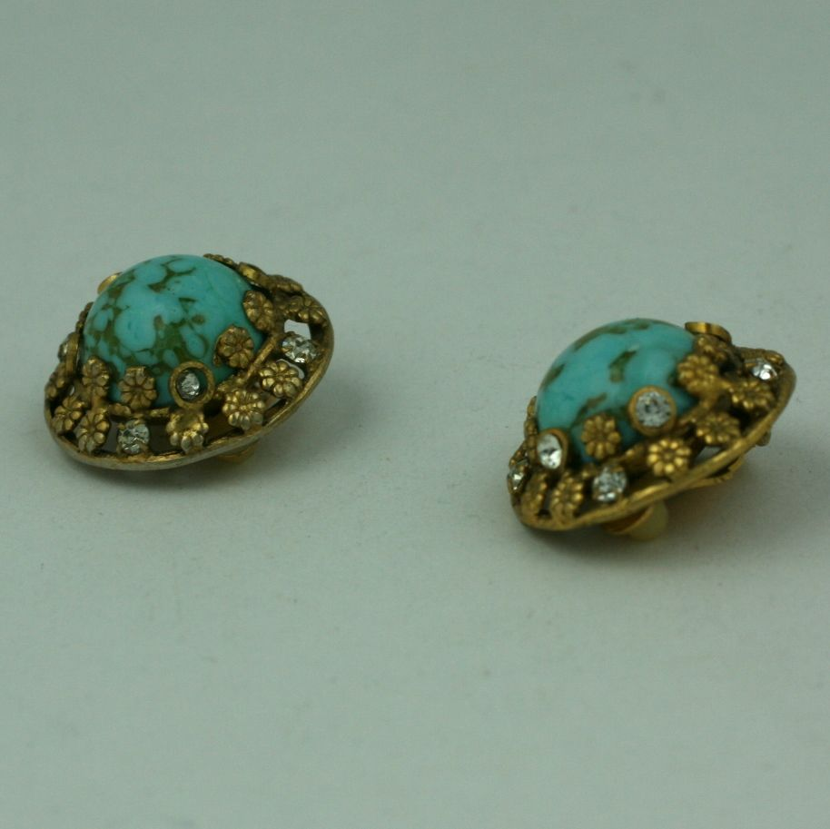 Women's Chanel Turquoise and Floral Filigree Earclips For Sale