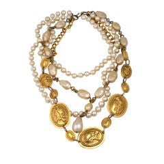 Chanel Iconic Bronze and Pearl Necklace