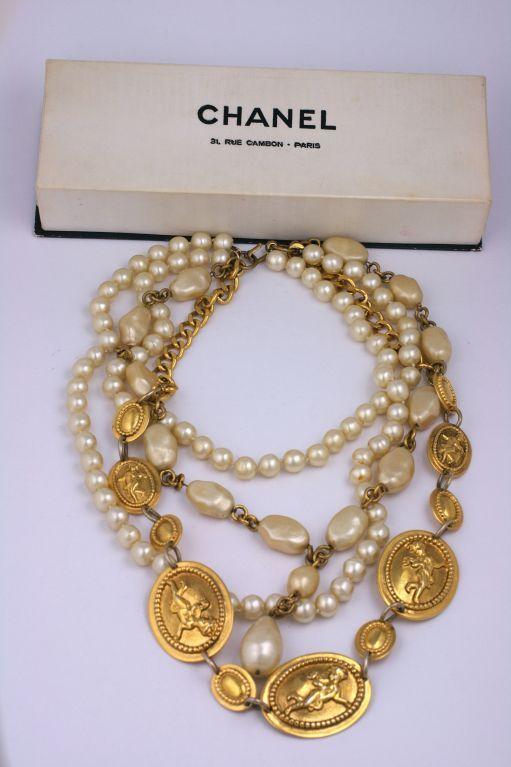 Chanel Iconic Bronze and Pearl Necklace In Excellent Condition For Sale In Riverdale, NY