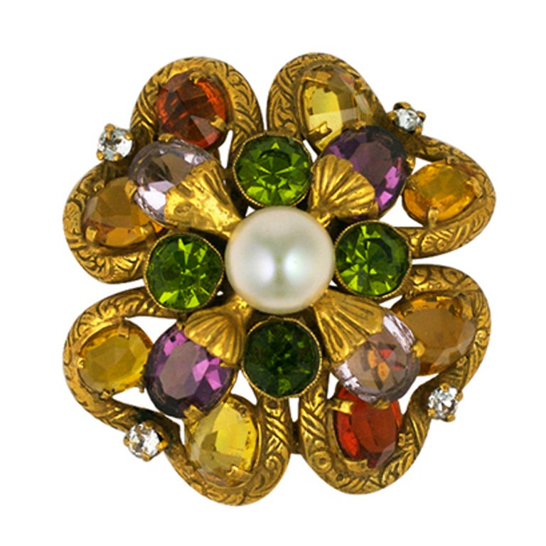 Important Jewelled Clover  Brooch, Property of Coco Chanel For Sale