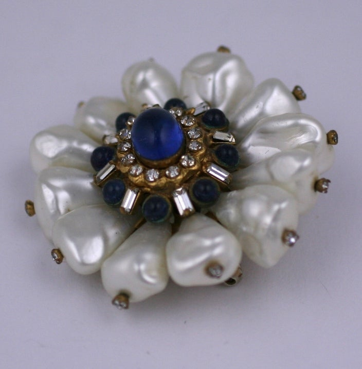 Chanel Dog Tooth Pearl Flower Brooch In Excellent Condition For Sale In Riverdale, NY
