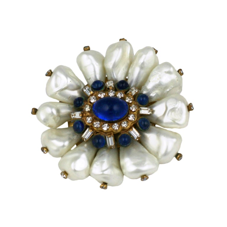 Chanel Dog Tooth Pearl Flower Brooch For Sale