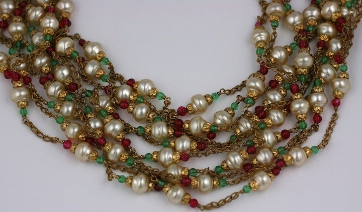 Chanel Multistrand Necklace, 1950's. In Excellent Condition For Sale In Riverdale, NY