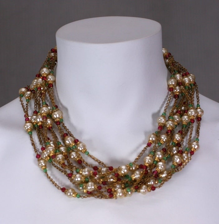 Women's Chanel Multistrand Necklace, 1950's. For Sale