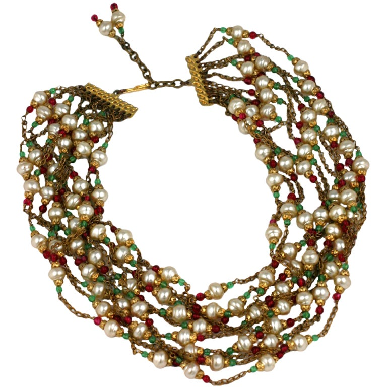 Chanel Multistrand Necklace, 1950's. For Sale