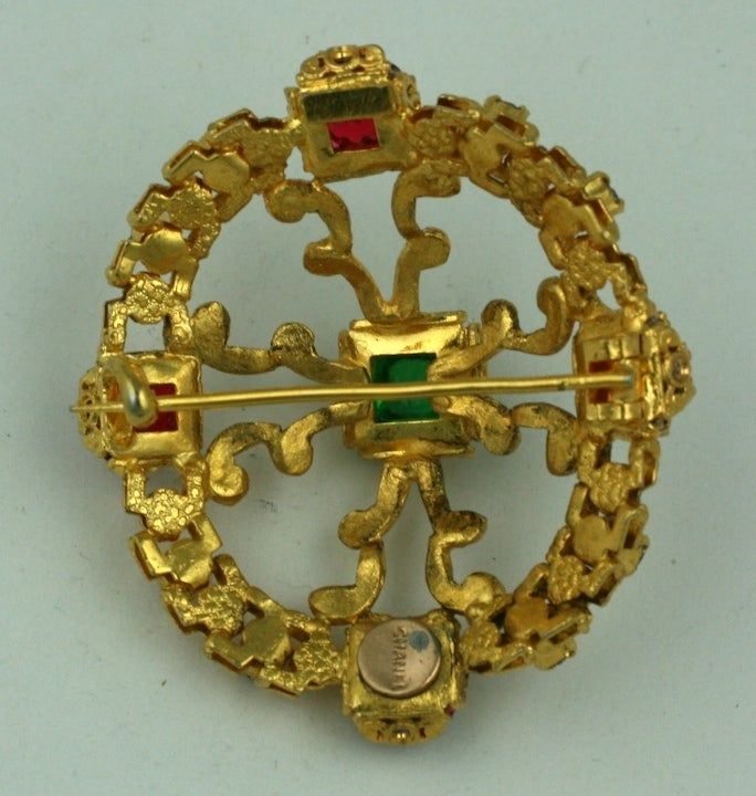 CoCo Chanel Renaissance Crest Brooch In Excellent Condition For Sale In Riverdale, NY