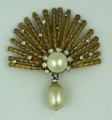 Coco Chanel Gilt Sunburst Brooch with Pastes and Pearls, Goossens