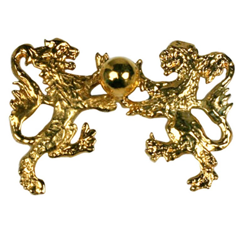 Chanel Heraldic Double Lion Brooch For Sale
