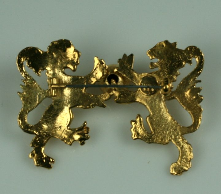Chanel Heraldic Double Lion Brooch In Excellent Condition For Sale In Riverdale, NY