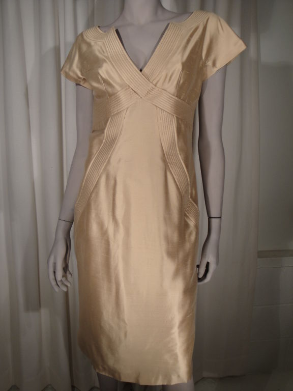 Alexander Mcqueen Spring 2006 silk copper dress,back zipper and fully lined in silk. Size 42