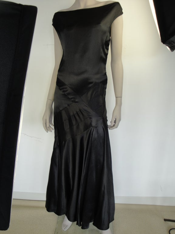 1930's black satin bias-cut gown with side snaps.
