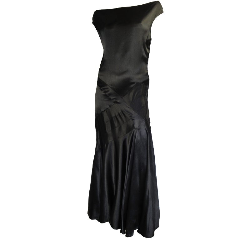 1930s Black Satin Bias-Cut Gown For Sale at 1stdibs