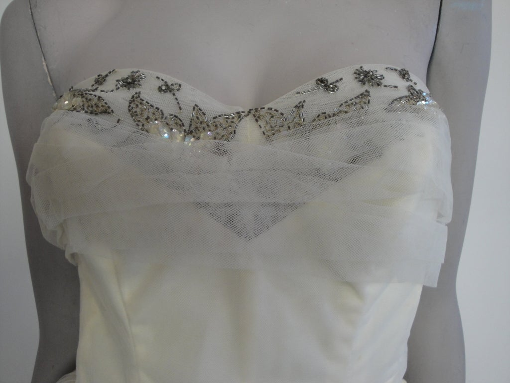 1950 S Tulle Party Strapless Dress At 1stdibs