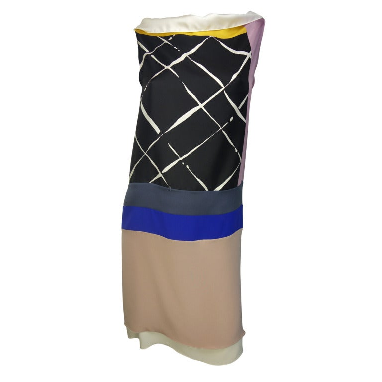 Vionnet Printed Silk Sleeveless Sheath Dress 1