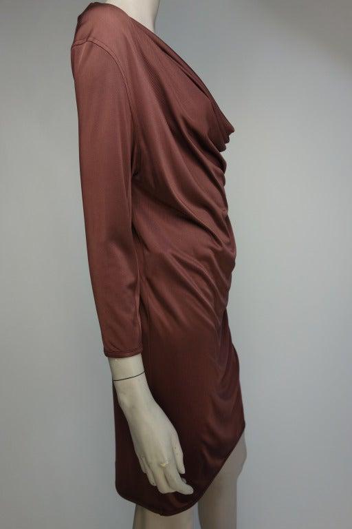 Balenciaga rayon long sleeved draped dress.