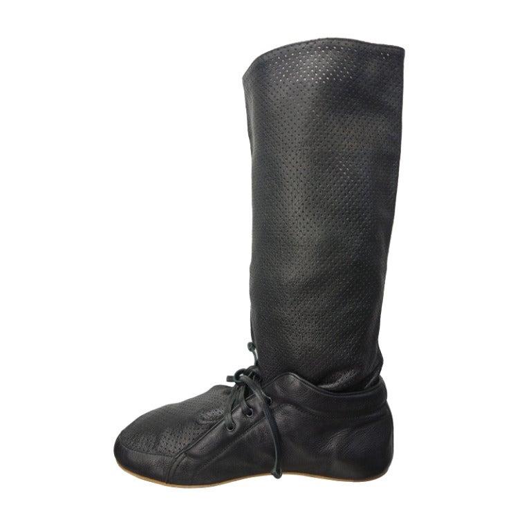 balenciaga black perforated flat boot at 1stdibs
