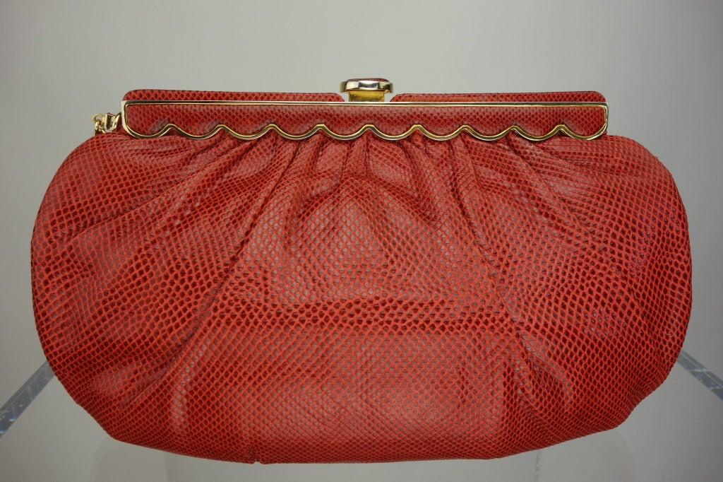 Judith Leiber 1970s Vintage Red Karung Snake Evening Bag