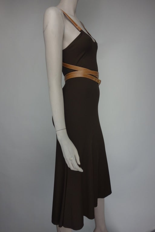Michael Kors chocolate brown crossover belt dress with cognac colored leather straps.