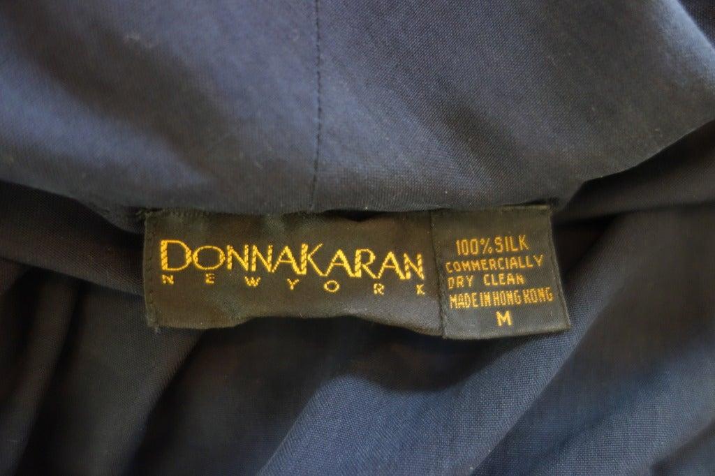 """Donna Karan Silk Navy Blue Off The Shoulder Pant Suit, Circa 1980""""s 9"""