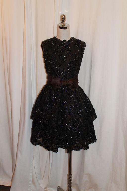 Sarmi Cellophane Encrusted Black Lace Cocktail Dress 2