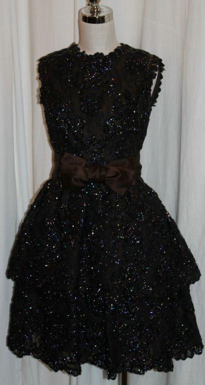 Sarmi Cellophane Encrusted Black Lace Cocktail Dress 3