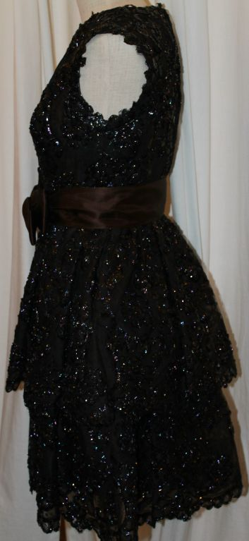 Sarmi Cellophane Encrusted Black Lace Cocktail Dress 6