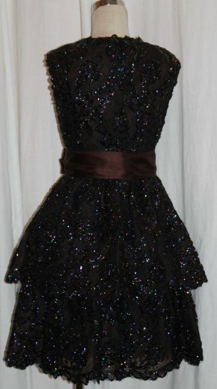 Sarmi Cellophane Encrusted Black Lace Cocktail Dress 7