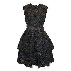 Sarmi Cellophane Encrusted Black Lace Cocktail Dress