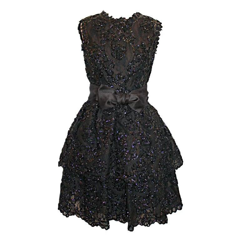 Sarmi Cellophane Encrusted Black Lace Cocktail Dress 1
