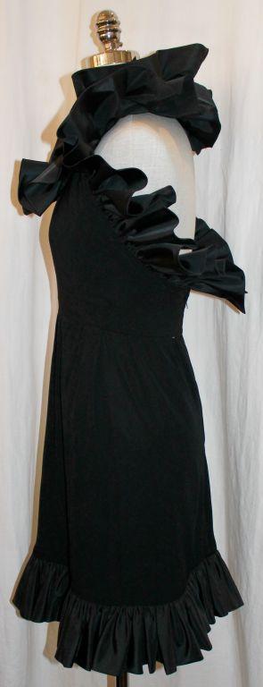 Vintage Nina Ricci Black Crepe/Silk Taffeta Halter Dress-Sz 6- 80's In Good Condition For Sale In Palm Beach, FL