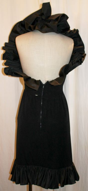 Women's Vintage Nina Ricci Black Crepe/Silk Taffeta Halter Dress-Sz 6- 80's For Sale